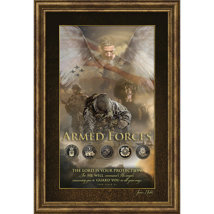 Angel Of Protection for Armed Forces Framed Art - Carpentree