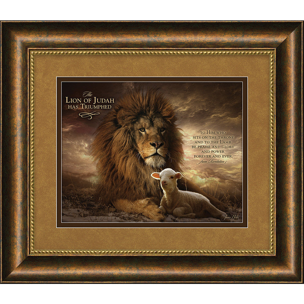 The Lion Of Judah - The Lion And The Lamb - Framed Art – Carpentree for Lion And Lamb Painting  45ifm