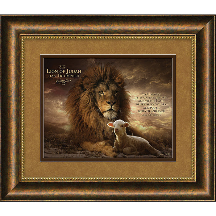 "The Lion Of Judah ""The Lion And The Lamb"" Framed Art"