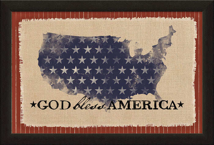 God Bless America Framed Natural Canvas - Carpentree