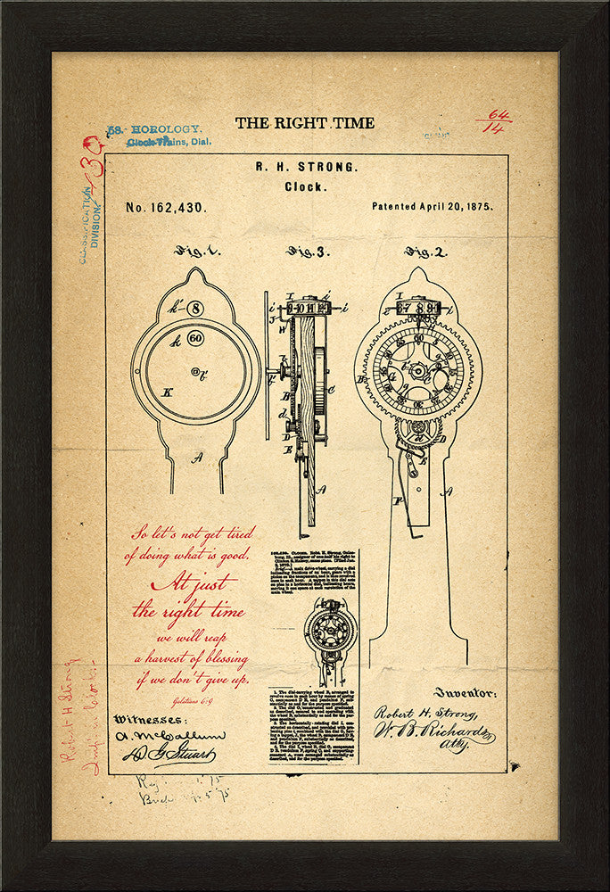 The Right Time, Clock Patent Framed Art