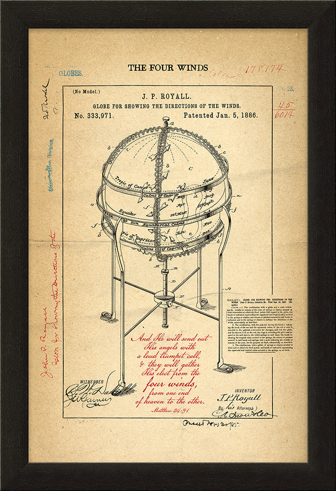 The Four Winds, Globe Patent Framed Art