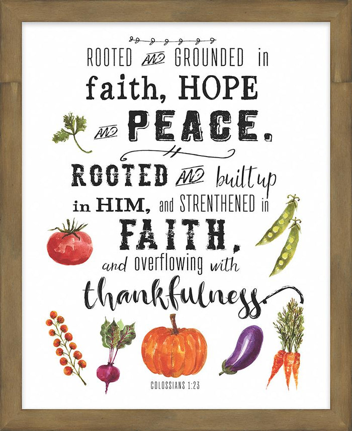 Farmer's Market Collection Rooted and Grounded in Faith Framed Plaque (46569) - Carpentree