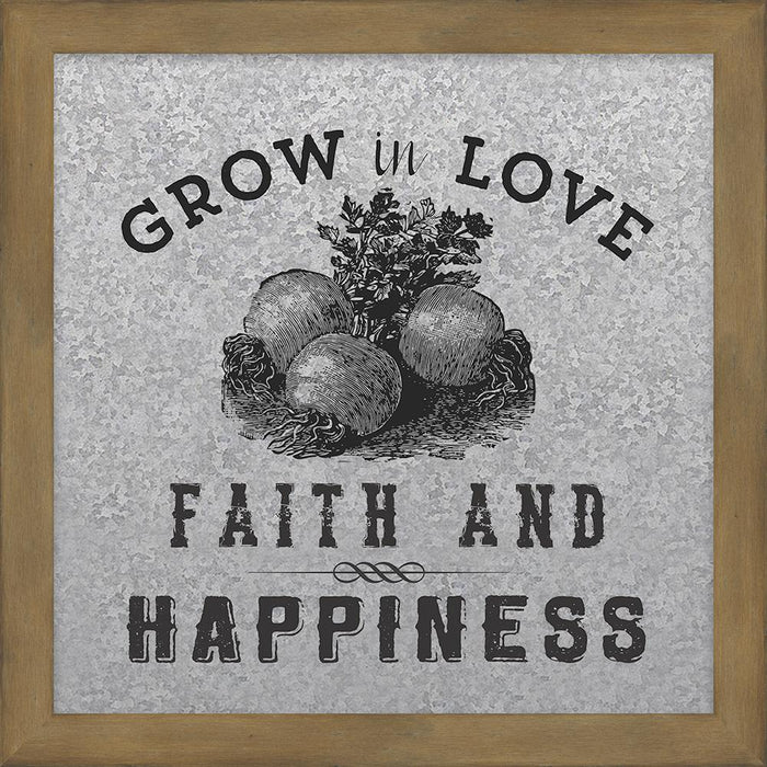Farmer's Market Collection Grow in Love Galvanized Metal Plaque (46573) - Carpentree