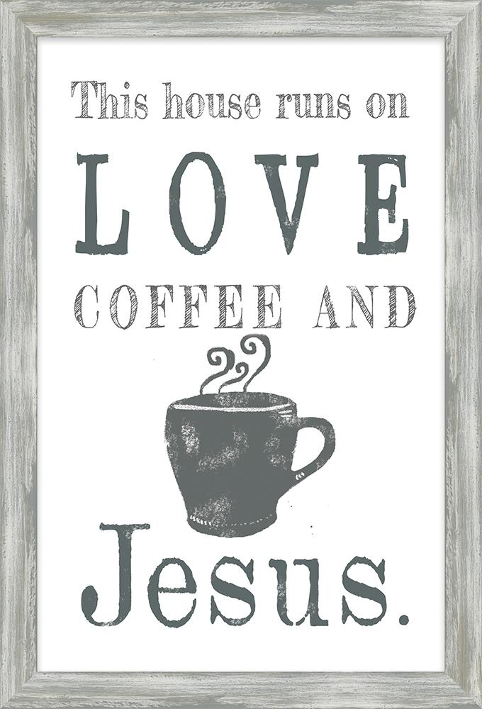 Coffee and Me Collection Love Coffee and Jesus Framed Art (46585) coffee framed art - Carpentree