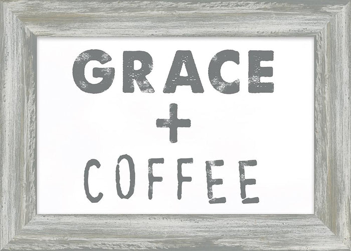 Coffee and Me Collection Grace & Coffee Framed Plaque (46691) coffee framed art - Carpentree