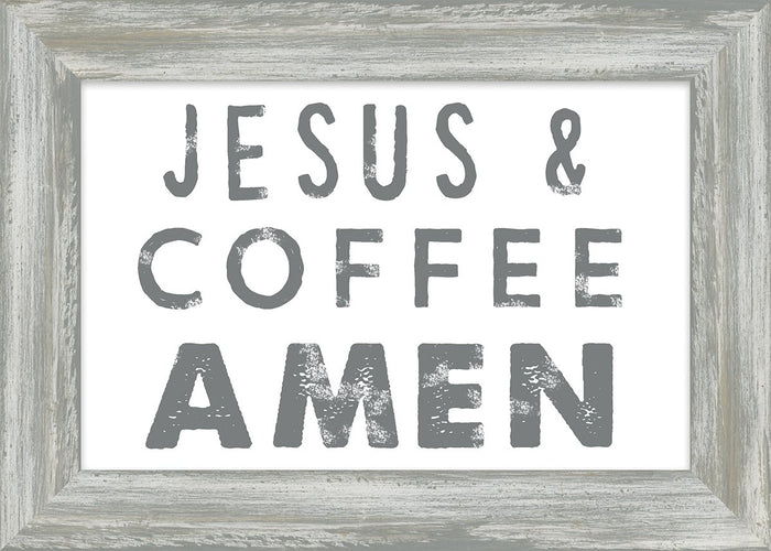 Coffee and Me Collection Jesus & Coffee Amen Framed Plaque (46593) - Carpentree