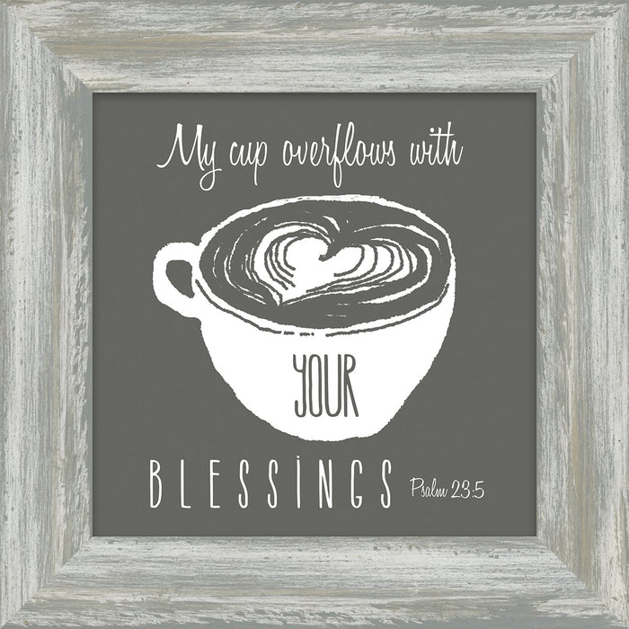 Coffee and Me Collection My Cup Overflows Box Plaque (46595)coffee framed art - Carpentree