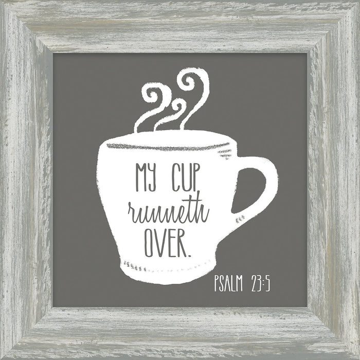 Coffee and Me My Cup Runneth Over Box Plaque (46596) coffee framed art - Carpentree
