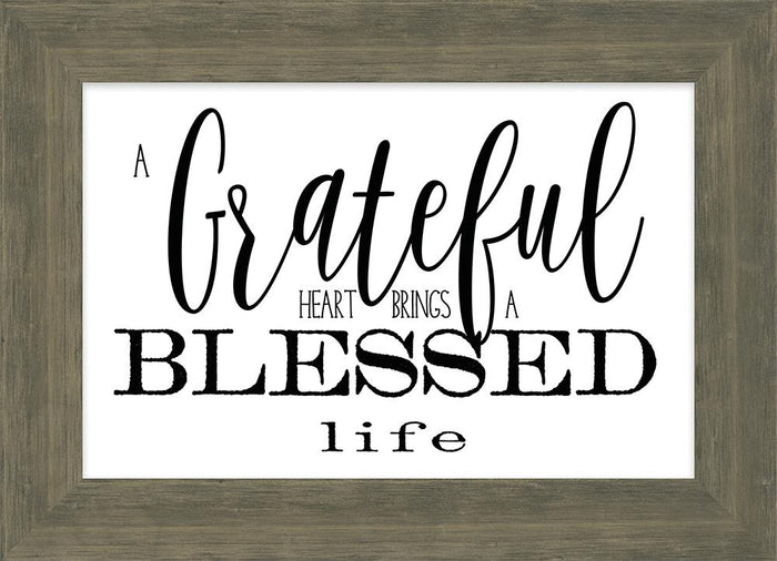Simple Scriptures Collection Grateful Heart Framed Plaque (46603) - Carpentree