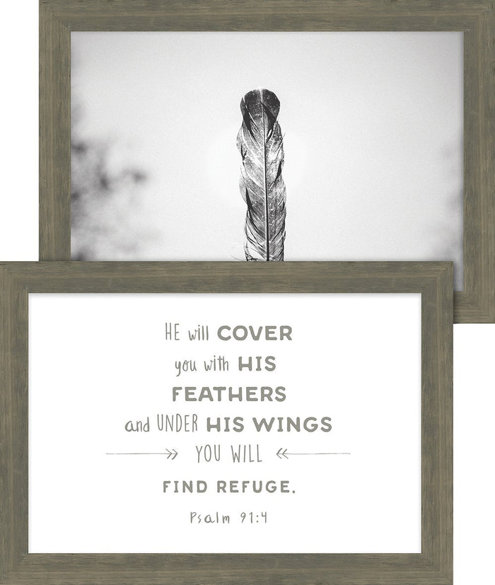 Rustic Pairings Collection Cover You with His Feathers Framed Art Set - Carpentree