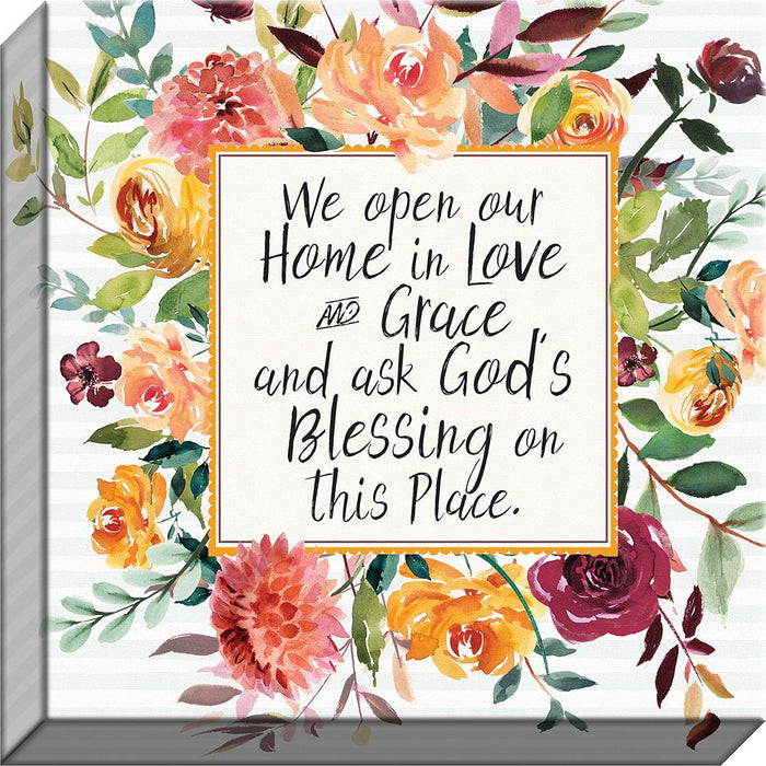 Fresh Floral We Open Our Home in Love Canvas - Carpentree