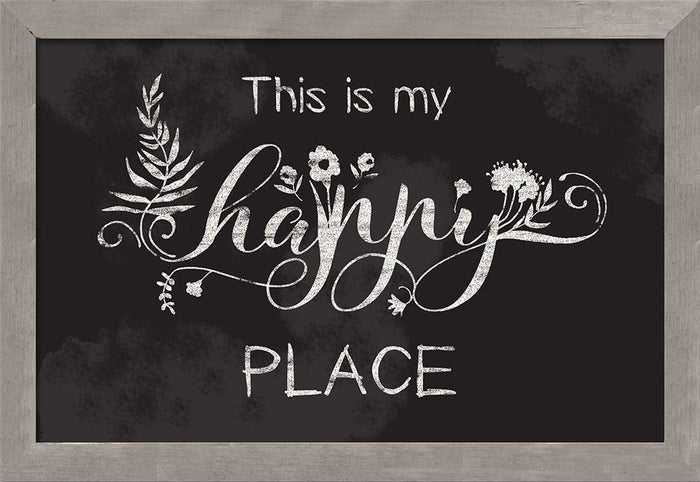 Happy Place Chalkboard Style Thistlewood Farms Framed Art - Carpentree