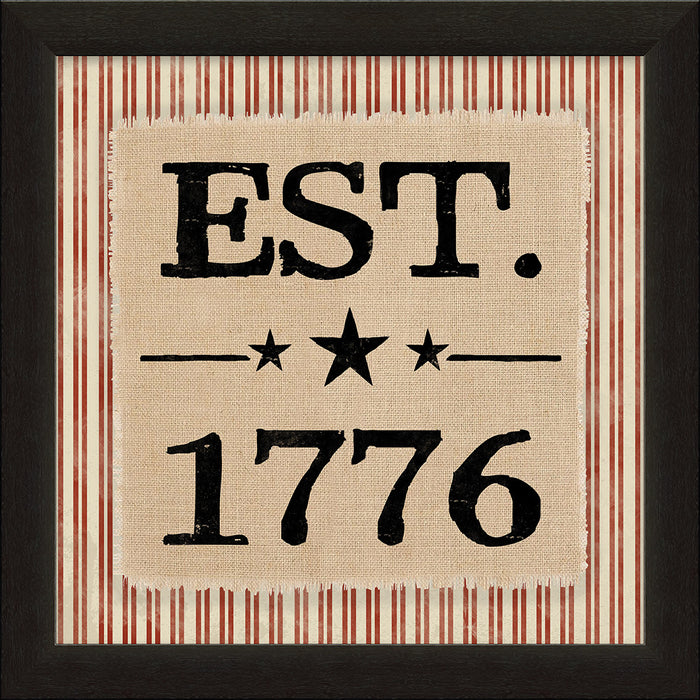 Est 1776 Patriotic Framed Natural Canvas