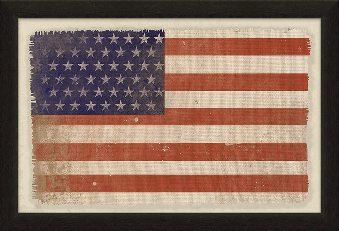 American Flag Framed Natural Canvas