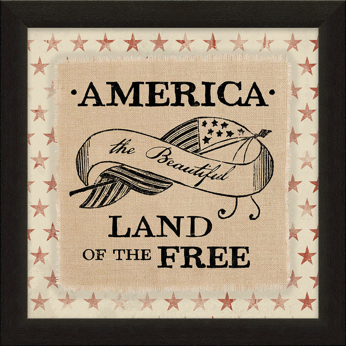 American Land of the Free Framed Natural Canvas