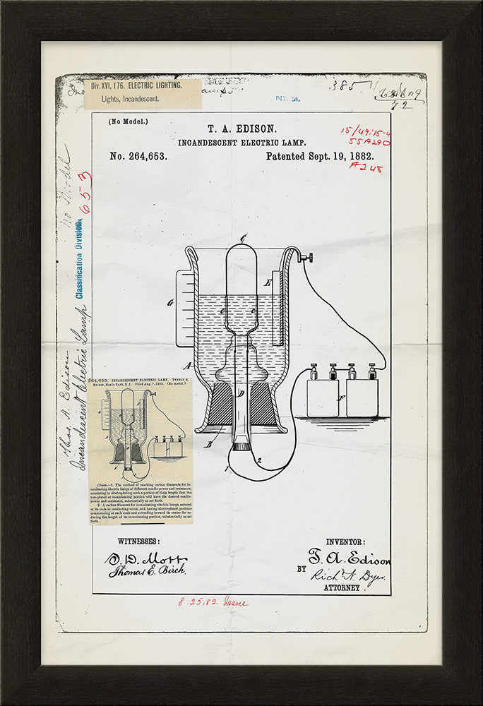 Edison Lamp Patent Framed Art