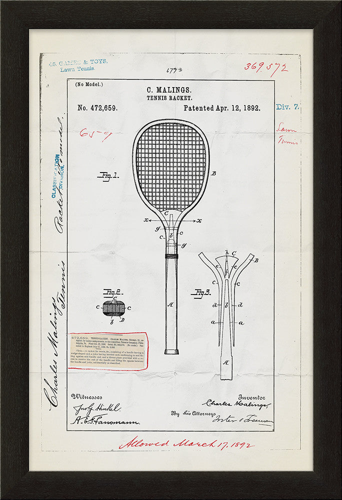 Tennis Racket Patent Framed Art
