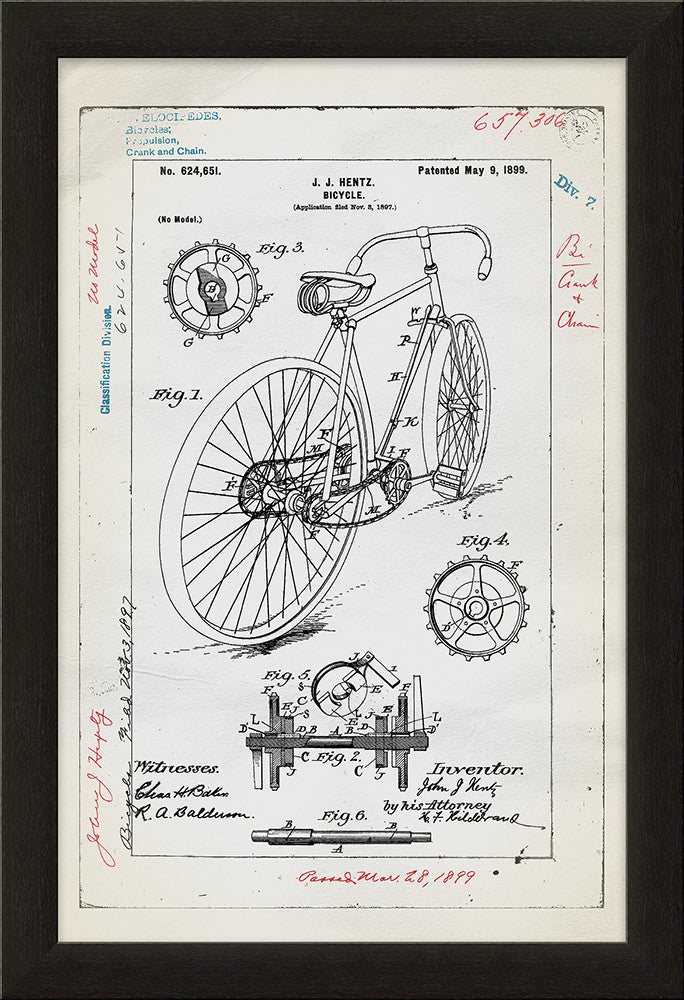 Bicycle Patent Framed Art