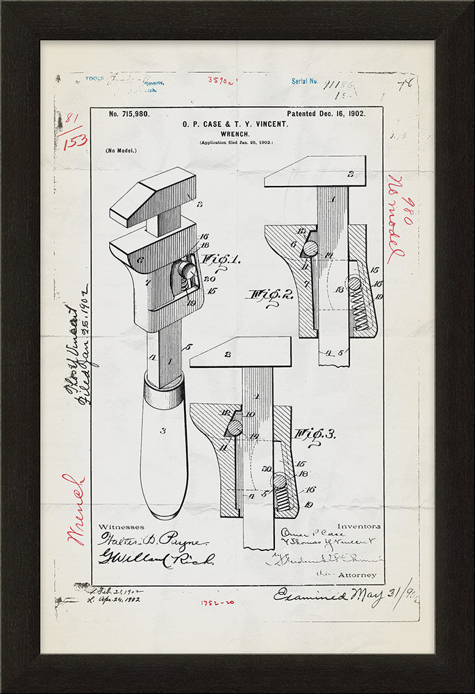 Wrench Patent Framed Art