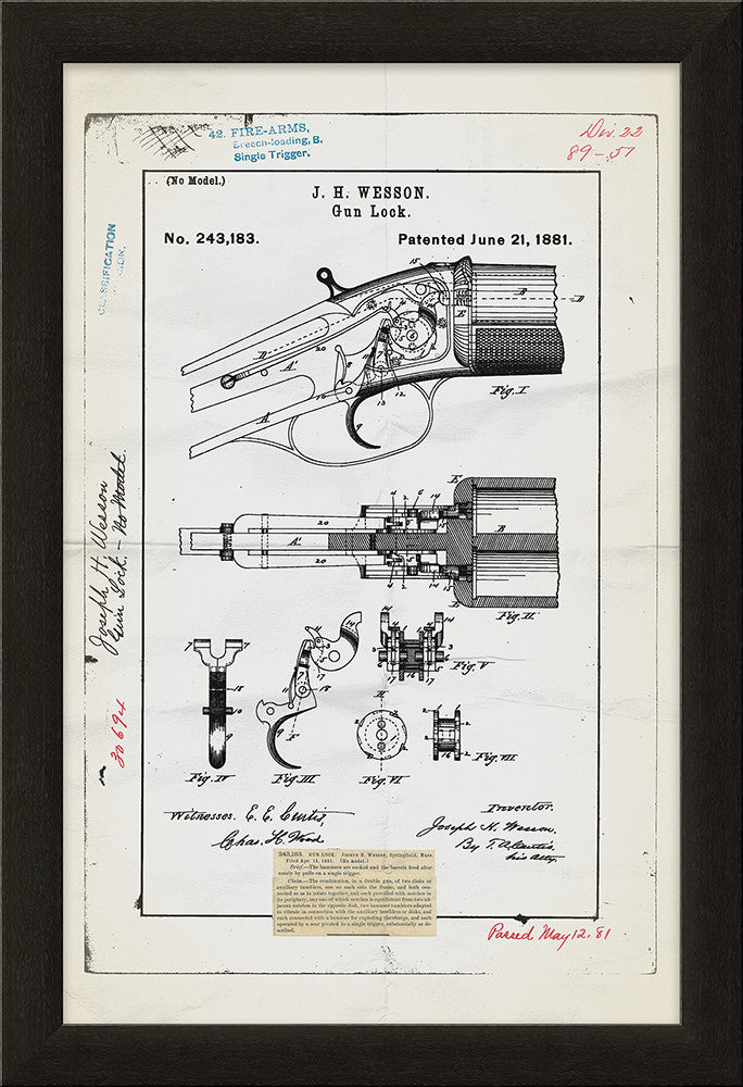 Gun Lock Patent Framed Art