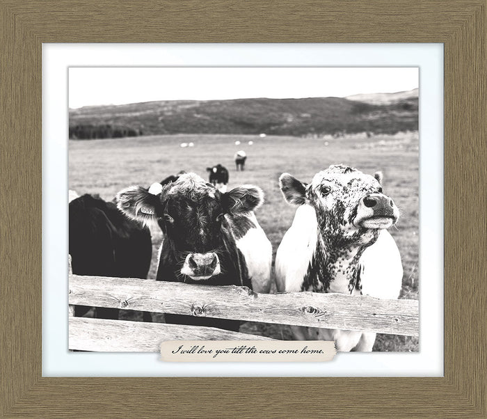Cows Farm Line Framed Art