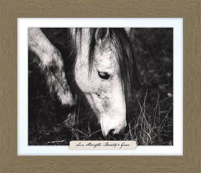 Grey Horse Farm Line Framed Art