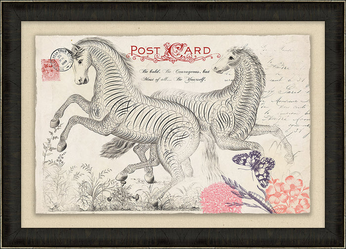 Horse Vintage Post Card Framed Art