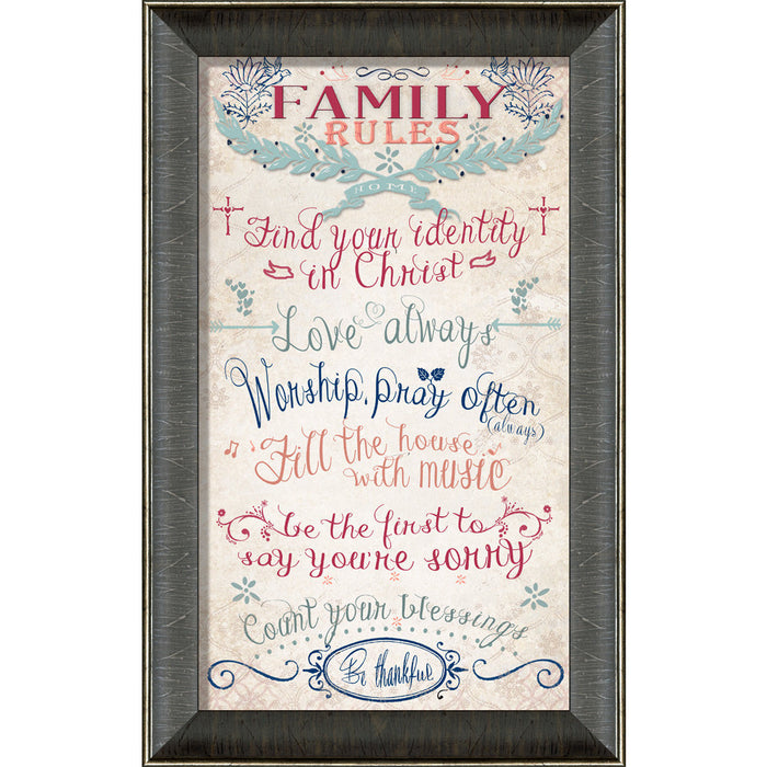 Family Rules Framed Art