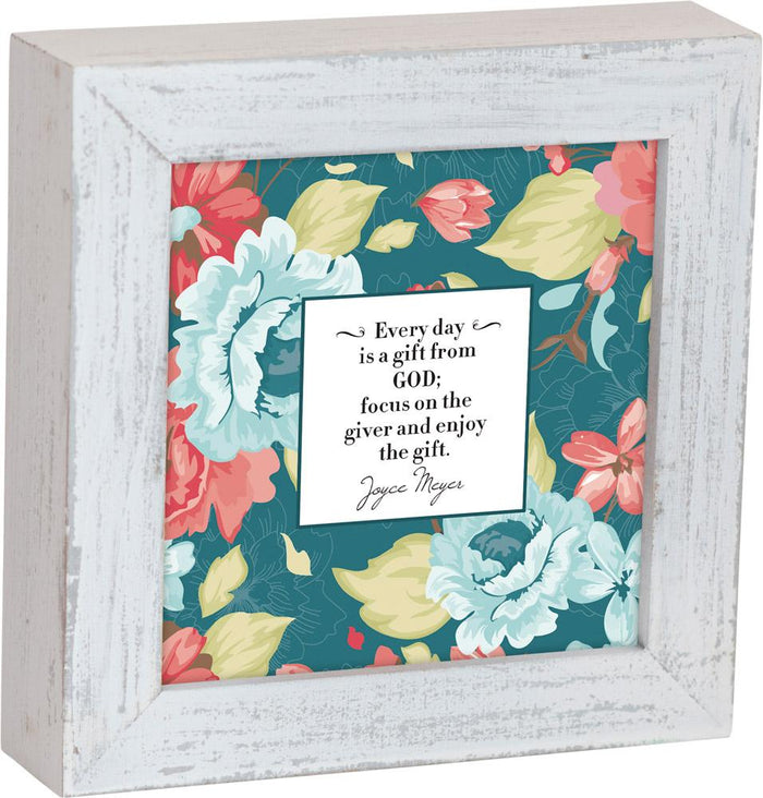 Everyday is a Gift Joyce Meyer Quote Framed Box Plaque - Carpentree