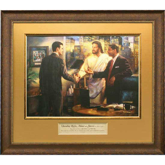 Jesus and the Businessman Framed Art