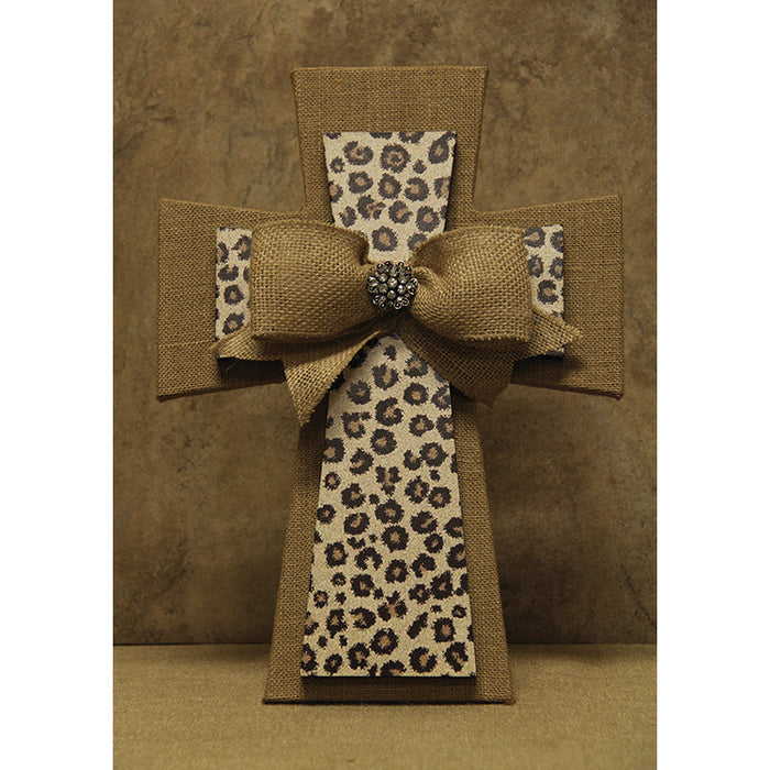 Layered Cross Burlap & Leopard