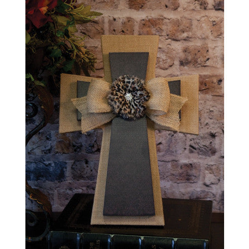 Layered Wall Cross Burlap Leopard Flowers