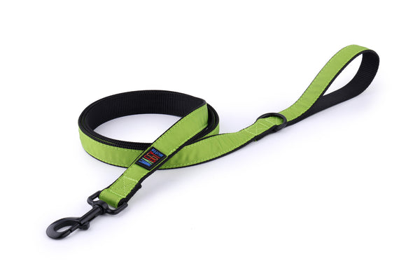 Waggy Mutts Dog Leash - Black Nylon Leash with Ribbon Overlay, Kiwi