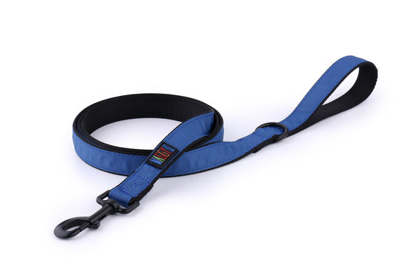Waggy Mutts Dog Leash - Black Nylon Leash with Ribbon Overlay, Navy Blue