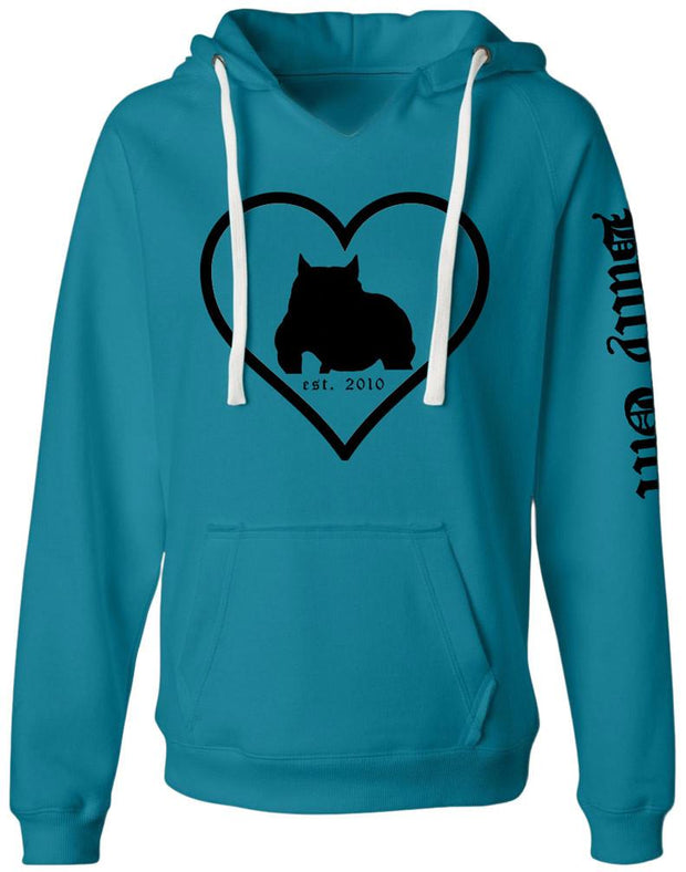 Bully Girl Love Sueded VNeck Hooded Sweatshirt - BGM Warehouse