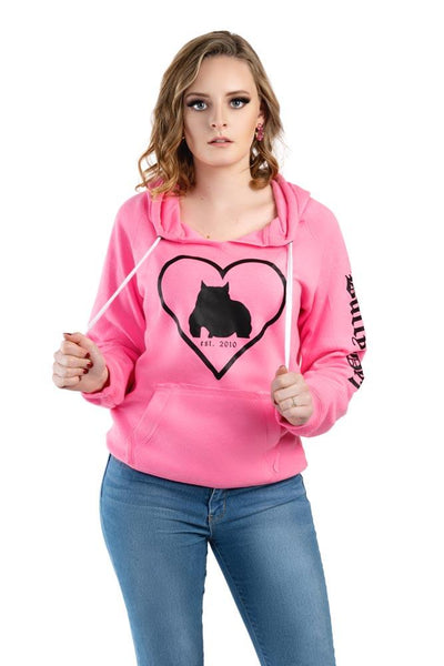 Bully Girl Love Sueded VNeck Hooded Sweatshirt