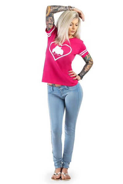 Bully Girl V-Neck Football Jersey Tee