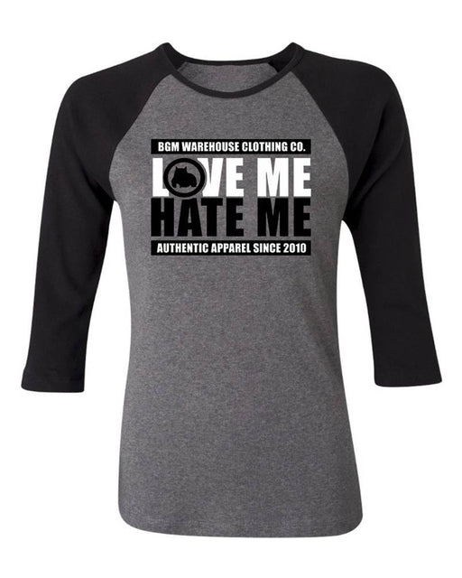 Love Me Hate Me Women's 3/4 Sleeve Baseball Tee - BGM Warehouse