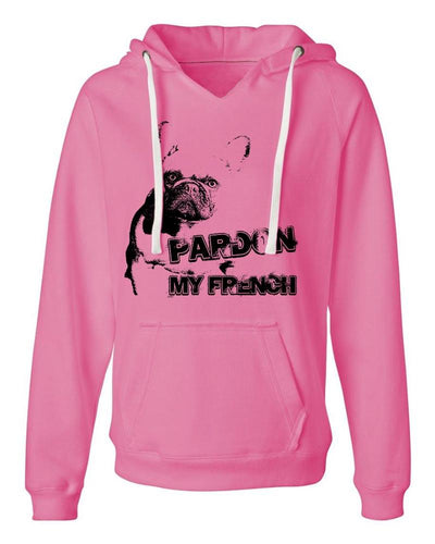 Pardon My French Sueded VNeck Hoodie