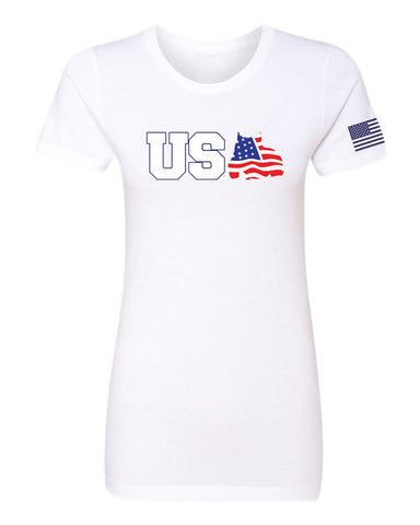 BGM Women's Red White and Bully T-Shirt