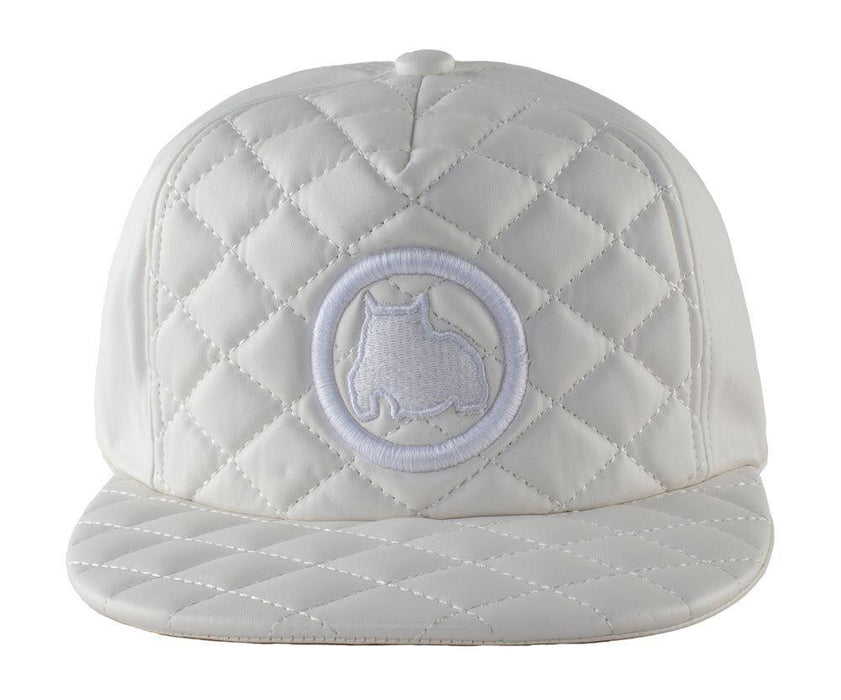 BGM Bully Breed Snapback Cap in all White Leather