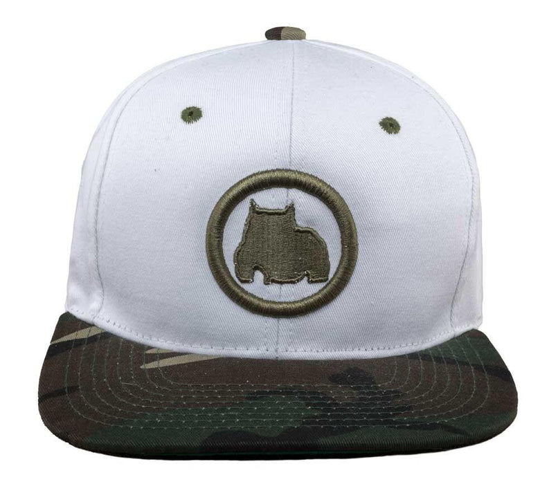 BGM Bully Breed Snapback Cap in White and Camo