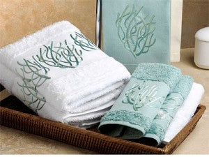 Embroidered Coral Towels