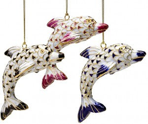 Cloisonne Dolphin Ornament Set