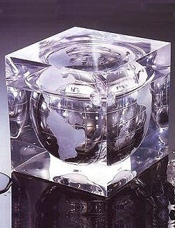 luxury ice bucket with lid clear, non-breakable with globe design luxury bar gift