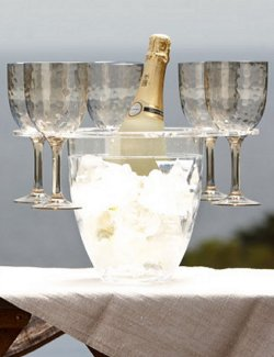 ice bucket with holder for wine glasses nonbreakable