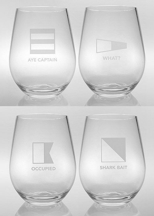 non-breakable nautical flag glasses
