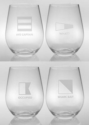Laser Etched Acrylic Signal Flags Tumbler Set - Nautical Luxuries