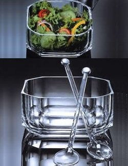 elegant clear acrylic salad bowl with servers
